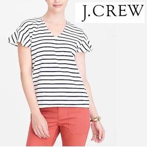 J CREW flutter sleeve striped XXL Top V Neck